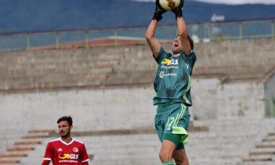 Pisseri, portiere dell'Alessandria, in azione nella prima partita della Serie C 2020/21 contro la Pistoiese