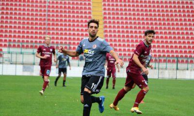Andrea Arrighini, calciatore dell'Alessandria, in azione durante la partita contro l'Olbia, vinta per 4-1, dello scorso 4 ottobre 2020