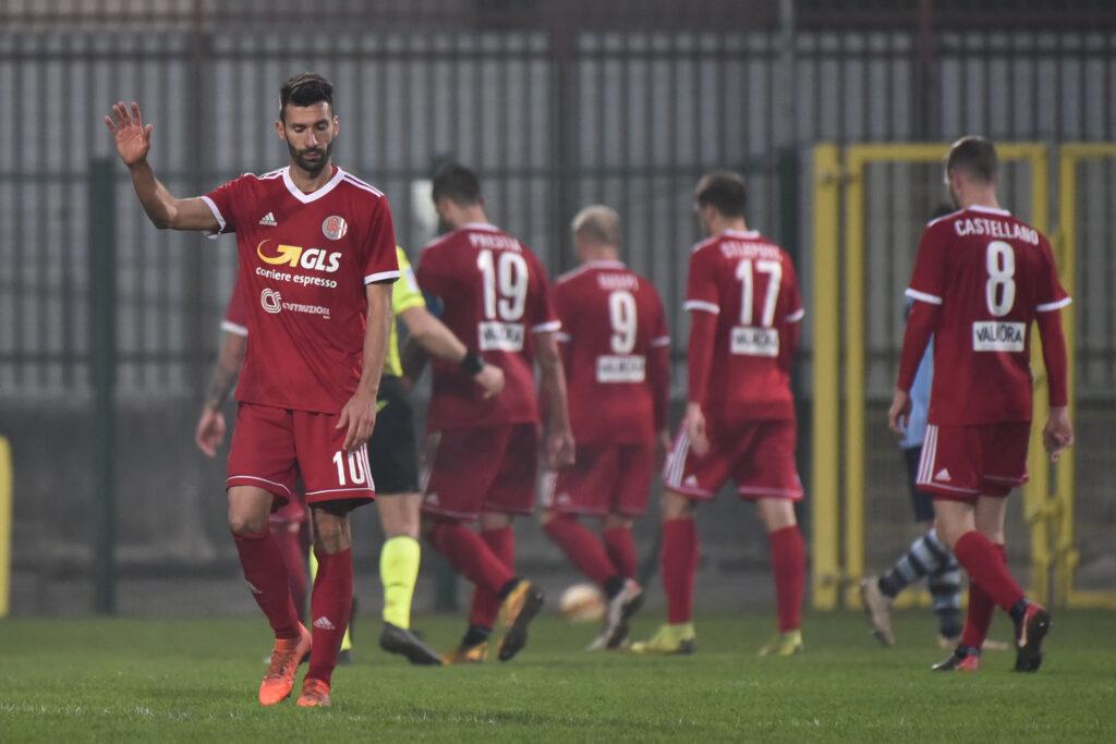 I giocatori dell'Alessandria durante la partita contro l'AlbinoLeffe, nella decima giornata del campionato di Serie C 2020/21